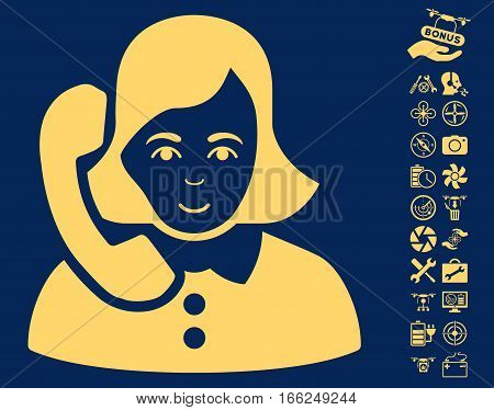Receptionist pictograph with bonus copter service symbols. Vector illustration style is flat iconic yellow symbols on blue background.