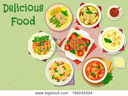 Vegetable and fish dishes icon of eggplant soups with chicken, tomato, bean and sausages, tuna tomato pasta, baked fish with vegetables and bean, salmon in wine sauce with asparagus