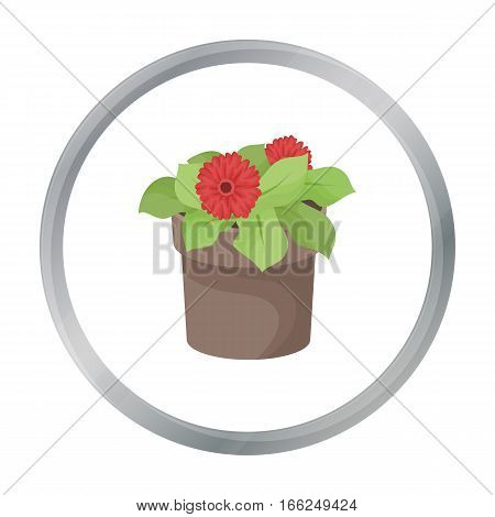 Flower in the pot icon in outline design isolated on white background. Bio and ecology symbol stock vector illustration. - stock vector