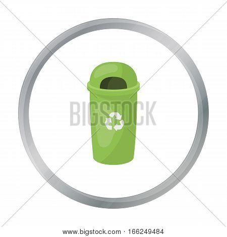 Recycle garbage can icon in outline design isolated on white background. Bio and ecology symbol stock vector illustration. - stock vector
