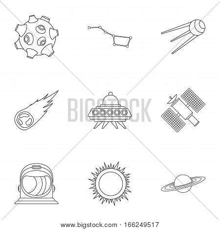 Universe icons set. Outline illustration of 9 universe vector icons for web