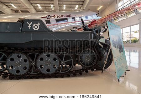 Santa Ana CA USA - January 21 2017: Blue 1943 German NSU Kettenkrad HK 101 Tracked motorcycle displayed at the Lyon Air Museum in El Santa Ana California United States. It was used during World War II. Editorial use only.