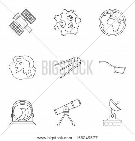 Galaxy icons set. Outline illustration of 9 galaxy vector icons for web