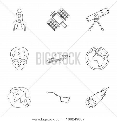 Cosmos icons set. Outline illustration of 9 cosmos vector icons for web