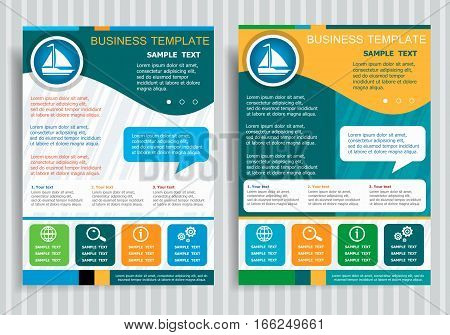 Sailboat Symbol On Vector Brochure Flyer Design Layout Template, Size A4. Easy To Use And Edit.