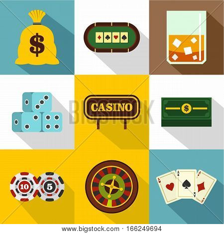 Gambling house icons set. Flat illustration of 9 gambling house vector icons for web