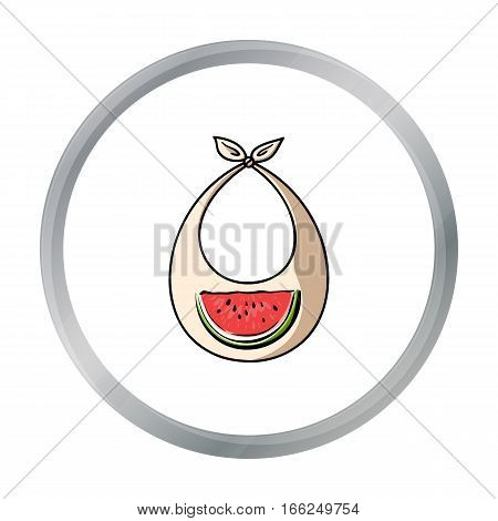Baby bib icon in cartoon style isolated on white background. Baby born symbol vector illustration. - stock vector