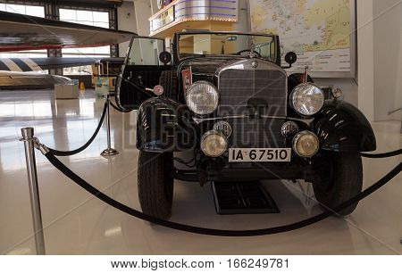 Santa Ana CA USA - January 21 2017: Old 1939 Mercedes-Benz Model G4 Offener Touring Wagon that once belonged to Adolph Hitler displayed at the Lyon Air Museum in El Santa Ana California United States. It was used during World War II. Editorial use only.