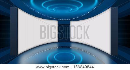 Abstract Empty 3D Studio Space Two Big Flat Screen TV Background.3d Illustration