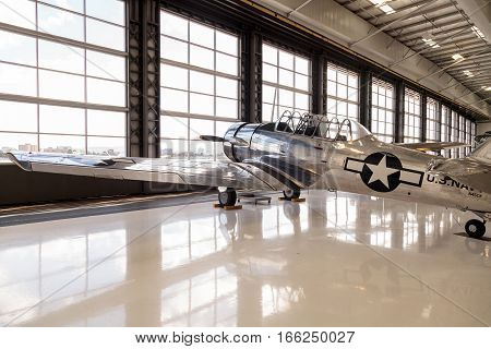 Santa Ana CA USA - January 21 2017: North American AT-6 SNJ-6 displayed at the Lyon Air Museum in Santa Ana California United States. It was used during World War II. Editorial use only.