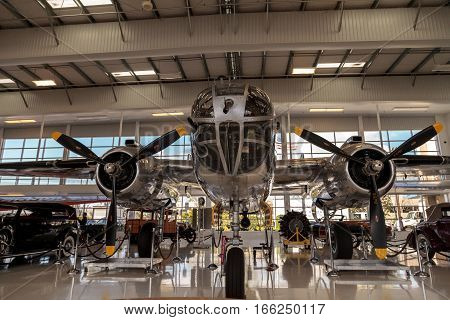 Santa Ana CA USA - January 21 2017: North American B-25 bomber called Mitchell displayed at the Lyon Air Museum in Santa Ana California United States. It was used during World War II. Editorial use only.