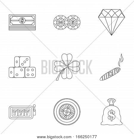 Casino icons set. Outline illustration of 9 casino vector icons for web