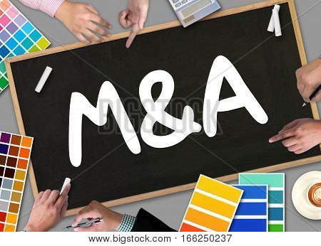 M&a (mergers And Acquisitions)  , Businessman Working At Office M&a.