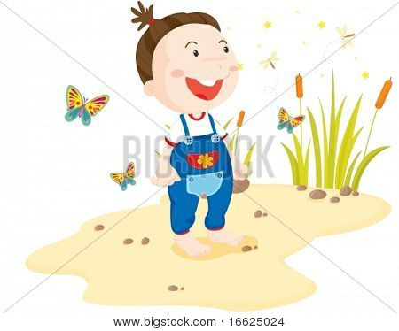 Toddler surounded by insects on the beach