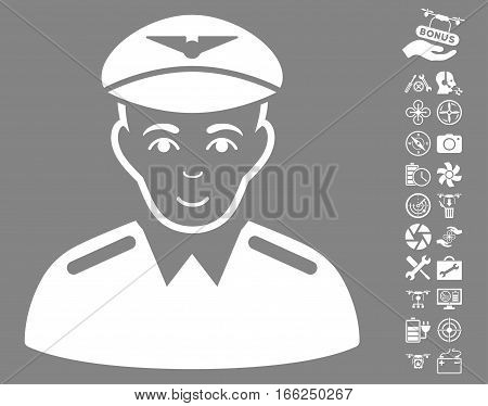 Aviator icon with bonus nanocopter service pictures. Vector illustration style is flat iconic white symbols on gray background.