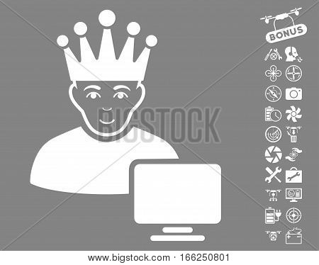 Computer Moderator pictograph with bonus quad copter tools graphic icons. Vector illustration style is flat iconic white symbols on gray background.