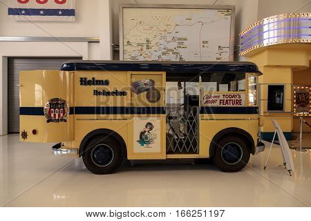 Santa Ana CA USA - January 21 2017: Yellow 1940s Divco Helms Bakery Truck displayed at the Lyon Air Museum in Santa Ana California United States. It was used during World War II. Editorial use only.