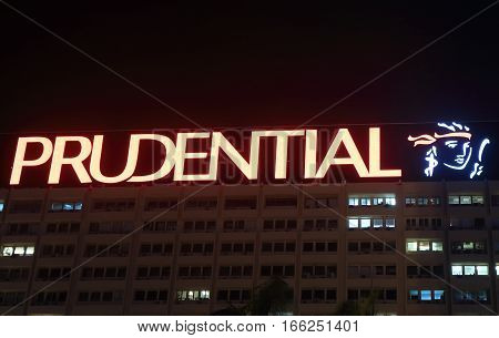 HONG KONG - NOVEMBER 7, 2016: Prudential plc. Prudential plc is a British life insurance company founded in 1848.