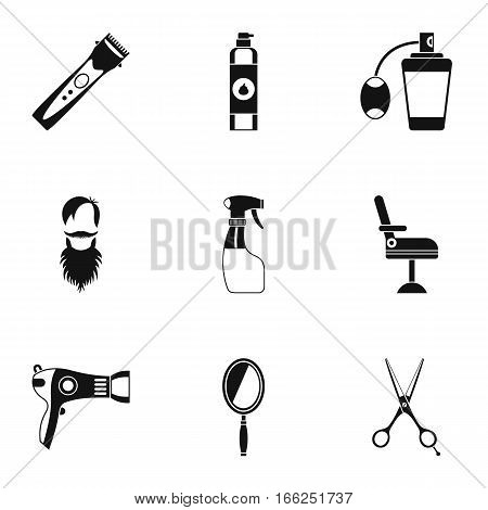 Barbershop icons set. Simple illustration of 9 barbershop vector icons for web