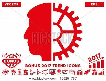 Red Android Head icon with bonus 2017 year trend icon set. Vector illustration style is flat iconic symbols, white background.