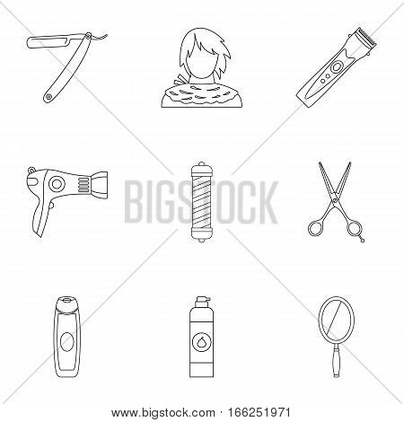 Hairstyle icons set. Outline illustration of 9 hairstyle vector icons for web