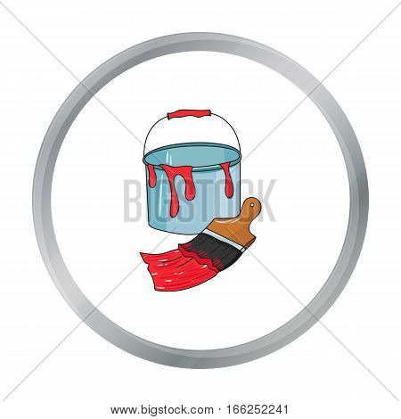 Bucket of paint and paintbrush icon in cartoon style isolated on white background. Artist and drawing symbol vector illustration. - stock vector