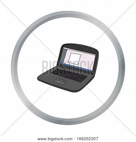 Drawing in the laptop icon in cartoon style isolated on white background. Artist and drawing symbol vector illustration. - stock vector