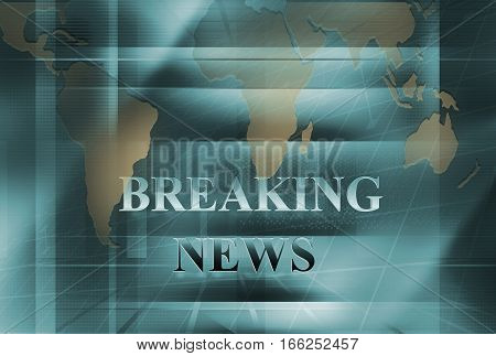 Graphical Breaking News Background with news text.