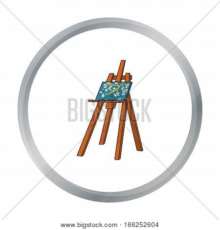 Easel with masterpiece icon in cartoon style isolated on white background. Artist and drawing symbol vector illustration. - stock vector
