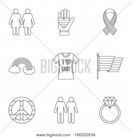 LGBT icons set. Outline illustration of 9 LGBT vector icons for web