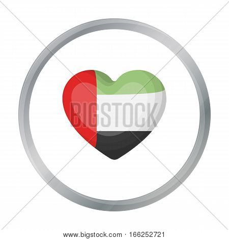 United Arab Emirates heart icon in cartoon style isolated on white background. Arab Emirates symbol vector illustration. - stock vector