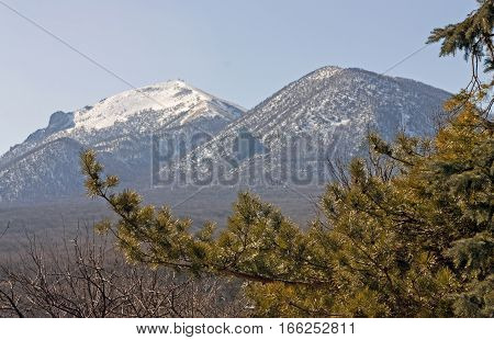 View of Mountain Beshtau from the hillside of Zheleznaya Mountain,Zheleznovodsk, Russia.