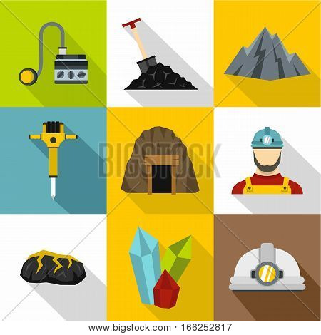 Mining activities icons set. Flat illustration of 9 mining activities vector icons for web
