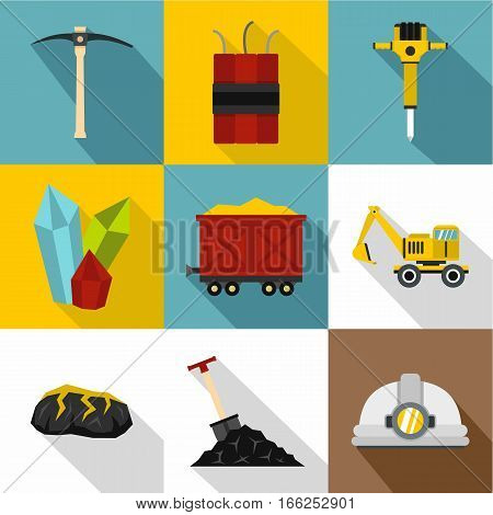 Mine icons set. Flat illustration of 9 mine vector icons for web