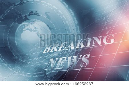 Global Economic Breaking News with Analytical Graph in Background Earth Globe in Center Covered by Wave Lines and Directions. 3d Render 3d Illustration