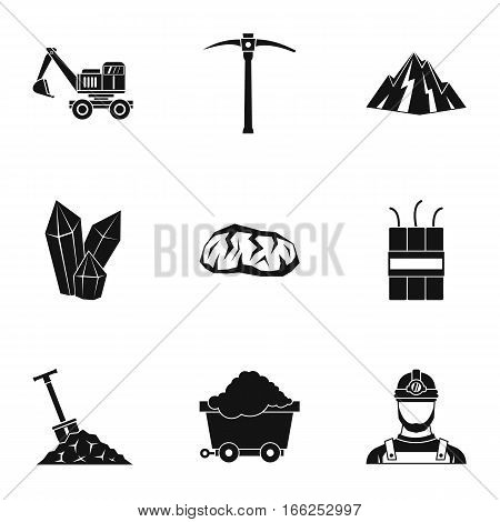 Mine icons set. Simple illustration of 9 mine vector icons for web