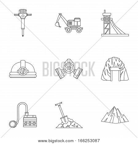 Coal icons set. Outline illustration of 9 coal vector icons for web