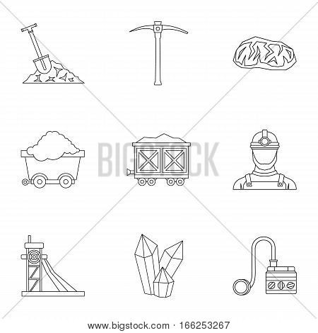 Coal mining icons set. Outline illustration of 9 coal mining vector icons for web