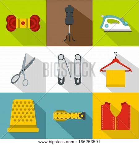 Range of tools for dressmakers icons set. Flat illustration of 9 range of tools for dressmakers vector icons for web