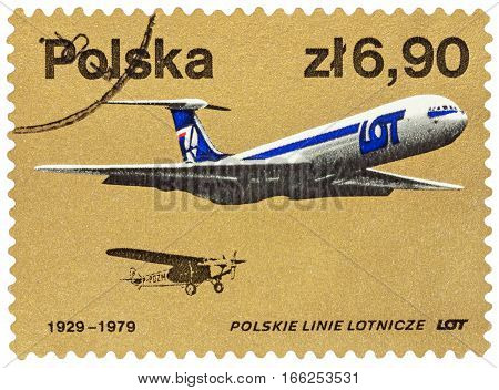 MOSCOW RUSSIA - January 19 2017: A stamp printed in Poland shows old and modern passenger aircrafts series