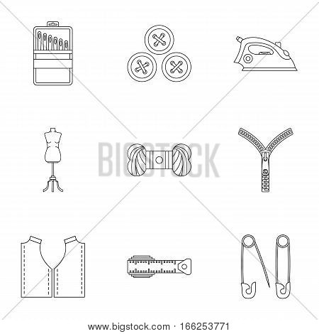 Tools for sewing dresses icons set. Outline illustration of 9 tools for sewing dresses vector icons for web