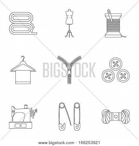 Sewing supplies icons set. Outline illustration of 9 sewing supplies vector icons for web