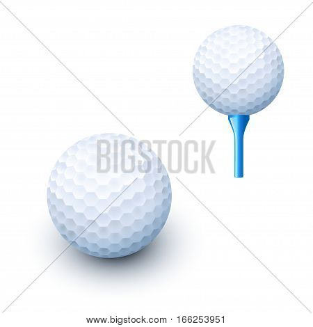illustration of white golf ball lying on white background with shadow