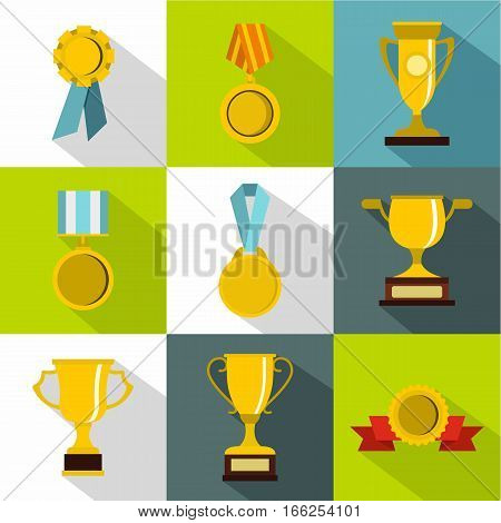 Competition icons set. Flat illustration of 9 competition vector icons for web