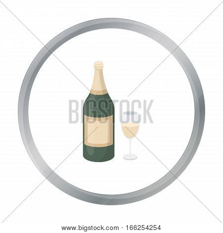 Champagne icon in cartoon style isolated on white background. Alcohol symbol vector illustration. - stock vector