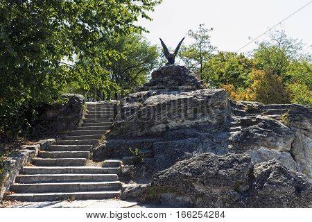 View of Eagle statue Emblem Pleasure Resort in Pyatigorsk city, Northern Caucasus, Russia.