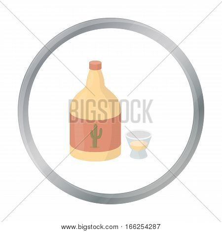 Tequila icon in cartoon style isolated on white background. Alcohol symbol vector illustration. - stock vector