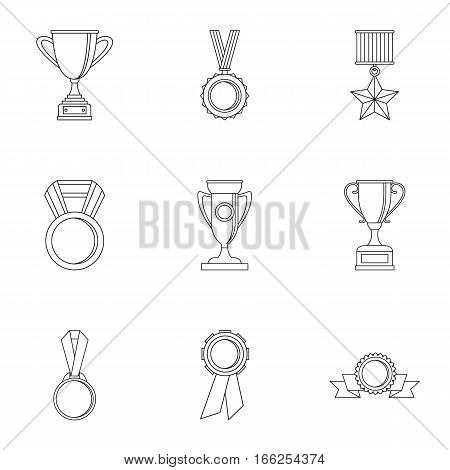 Rewarding icons set. Outline illustration of 9 rewarding vector icons for web