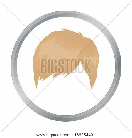 Man s hairstyle icon in cartoon style isolated on white background. Beard symbol vector illustration. - stock vector