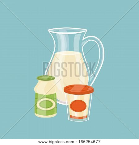 Glass jug with milk. Assortment of dairy products isolated on blue background, vector illustration. Nutritious and healthy milk products. Natural and healthy food. Organic farmers products.